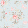 seamless floral pattern with roses and butterflies