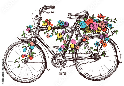 Bike with flowers, design element for wedding invitations or bri © Danussa