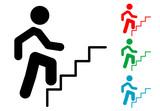Pictograma hombre subiendo escalones varios colores