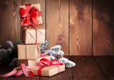 Fototapety Christmas gift boxes and tree branch