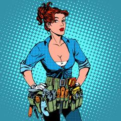 woman working repairman electrician