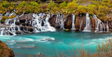 Fototapety Panorama of the Hraunfossar falls in Iceland
