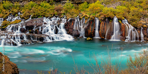 fototapeta na ścianę Panorama of the Hraunfossar falls in Iceland