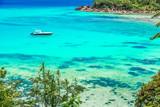 Yacht in paradise bay of Seychelles, Praslin