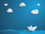 Low poly paper boat vector background. Polygonal clouds and