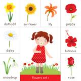 Fototapety Illustration of printable flash card for flowers and little girl smelling flower
