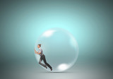 Woman in soap bubble