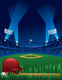 Baseball Game at Night - 93516275