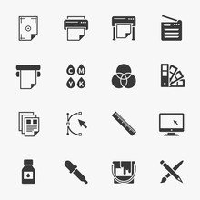 Vector set of printing icons