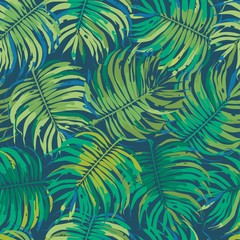 Palm Leaves Tropic Seamless Vector Pattern