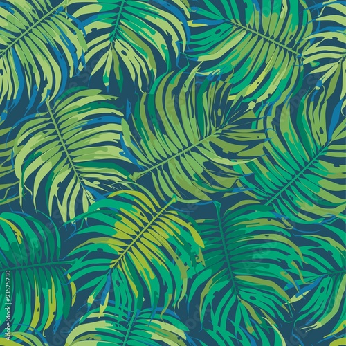 Cotton fabric Palm Leaves Tropic Seamless Vector Pattern