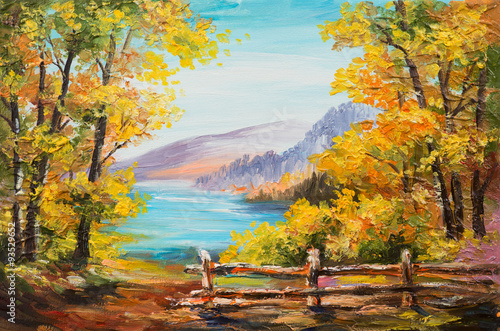 Fotobehang Meloen Oil painting landscape - colorful autumn forest, mountain lake, impressionism