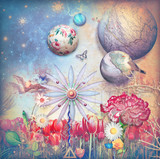 Fototapety Fairytales field with colored flowers series