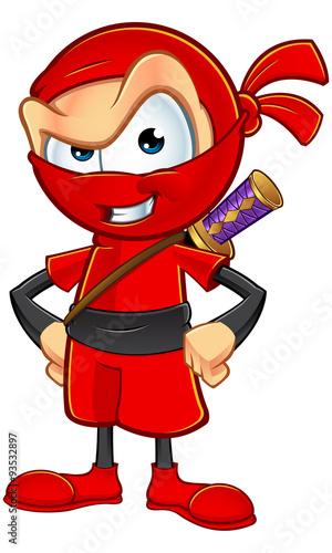 fototapeta na ścianę Sneaky Red Ninja Character