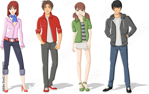 Group of cartoon young people. Manga anime teenagers. - 93535433