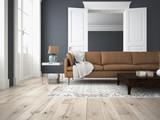 wohnzimmer und schlafzimmer in einer altbau wohnung  - 93537089