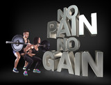 Athletic young man and beauty woman lifting a rod on the black background Motivational fitness phrases poster