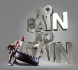 Athletic young man lifting a tire on the gray background Motivational fitness phrases poster