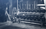 Fototapety Old gym interior with equipment