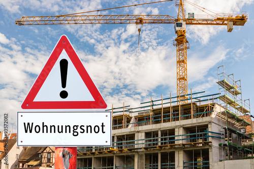Achtung Wohnungsnot Schild Poster