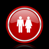 couple red glossy cirle web icon on black bacground