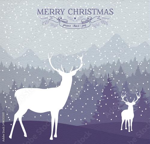 Fotobehang Hipster Hert Merry christmas winter card holiday deer background
