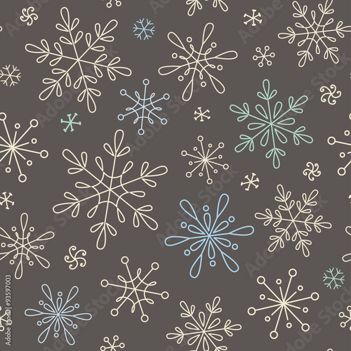 Materiał do szycia Seamless pattern with snowflakes for Christmas, New Year and winter design