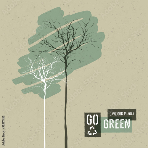 Save Nature Concept Illustration. Trees on Cardboard Realistic B © pashabo