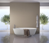 Contemporary modern bathtub with olive trees