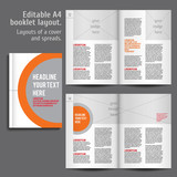Fototapety A4 booklet Layout Design Template with Cover