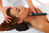 Face care. Ultrasound cavitation face treatment in medical spa c poster
