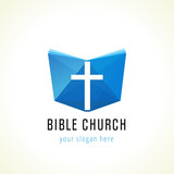 Bible church logo. Template logo for churches and christian organizations cross on the bible