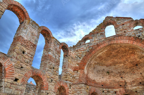 Fotobehang Marokko The ruins of the church of Saint Sophia in Nessebar, Bulgaria in HDR on a cloudy weather