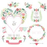 Fototapety Floral Heart Shape Invitation
