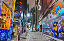 "Постер, картина, фотообои ""View of colorful graffiti artwork at Hosier Lane in Melbourne"""