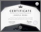 Certificate template with elements