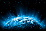 Best Internet Concept of global business. Globe, glowing lines