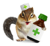 Vet concept, funny squirrel doc hold bottle medications, on whit