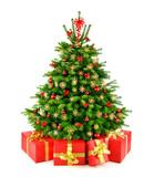 Fototapety Weihnachtsbaum mit Strohsternen und Geschenken