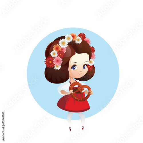 autumn bretzel cartoon character chibi cute dirndl dress europe fest festive food germany girl illustration kid national octoberfest oktoberfest pretzel tourism traditional travel vector young