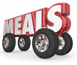 Постер, плакат: Meals Word on 3d Wheels Food Delivery Charity Service