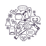 vector set of Halloween symbols placed in a circle