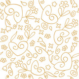 seamless background of hearts and flowers swirls ornament