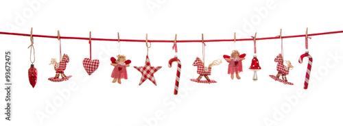 Fototapeta Isolierte freigestellte Dekoration zu Weihnachten in rot weiß kariert auf Hintergrund.