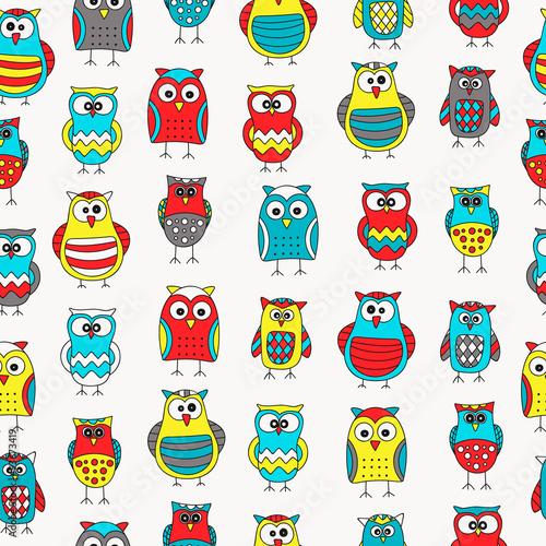 Seamless pattern with hand drawn doodle owls. Cute background for kids. Vector pattern. Bright yellow, red, blue, grey and white colors.