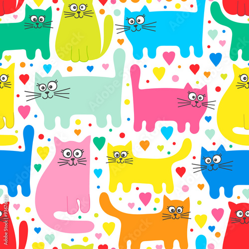 Naklejka Vector seamless pattern with colorful cats. Funny cats and hearts. Cartoon hand drawn pattern for children. Bright colors on white background.