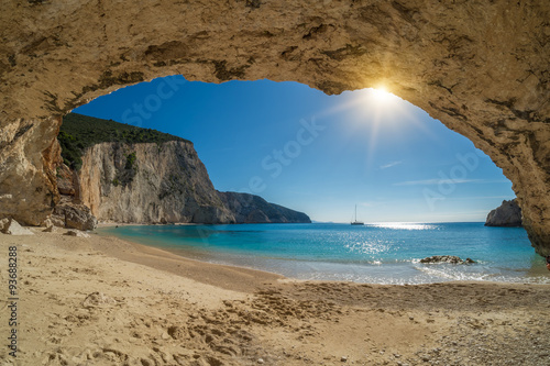 fototapeta na ścianę Beautiful summer white Porto Katsiki beach on Ionian Sea Lefkada
