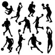 vector basketball players in silhouettes