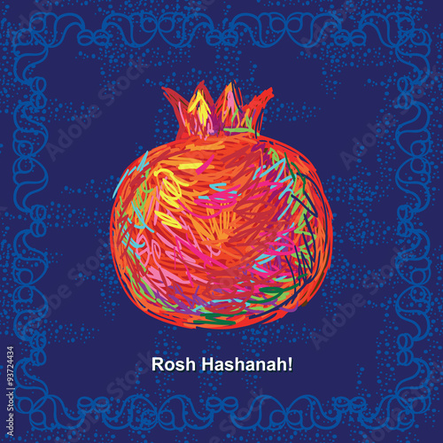 Plakát Greeting card with pomegranate for Jewish New Year, Rosh Hashanah