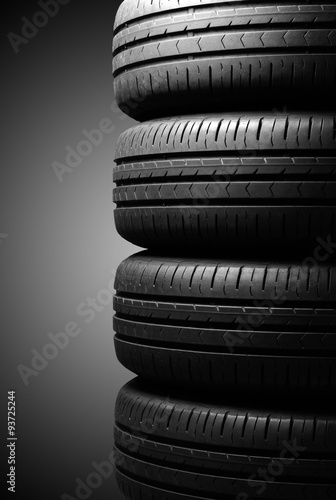 Poster Tyres in dramatic lighting